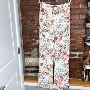Zara Cream Floral Long Pants S